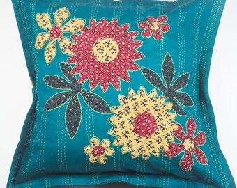 Cutwork Kantha Pillow