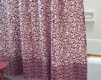 Chain Pattern Shower Curtain Batik - Burgundy- Block Print
