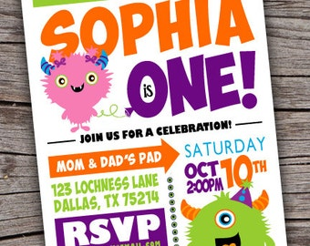 Monster Party Invite /  Monster Birthday Invitation / Monster Invite/ Monster Invitation/ Monster Birthday Party/