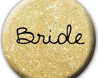Bride Button - Faux Gold Glitter Pattern Bride Button - Bachelorette Party Buttons - Gold Glitter Team Bride - Bride Badge - Bride Tag