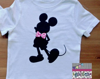Mickey Mouse Disney inspired Silhouette Bow Tie Tee
