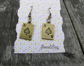 Ace of Spades Antique Gold Women's Hook Earrings