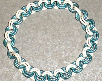 Stretchy-Blue and White Chainmail Bracelet