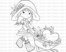 Digi digital stamps, Scrapbooking printable, dolls, heart, flowers, INSTANT DOWNLOAD