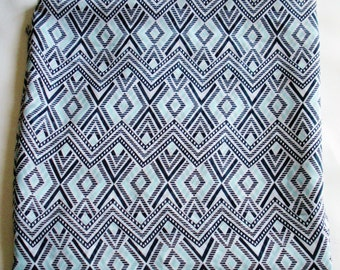 Blue and White Geometric  Print Fabric (by the yard)