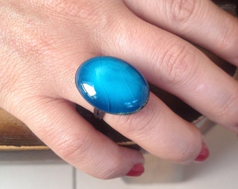 Ring, Ceramic Ring, Handmade Ring, Turquoise Ring, Hand Painted Ring, Free Size
