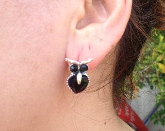 Earring, Owl Earrings, Black Earring, owl jewelry, Owl, Brass Owl, Brass Earring, gift for here