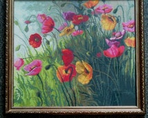 Embroidered picture- Poppy field-I will do cross stitch picture from  any photos