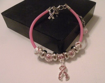 Pink Chord Breast Cancer Awarness Charm Bracelets