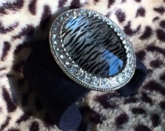 Zebra Bling - Navy Blue