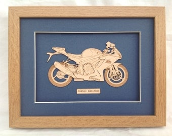 Classic Motorcycle Suzuki - Fine art Laser engraved-cut original 2D-3D picture