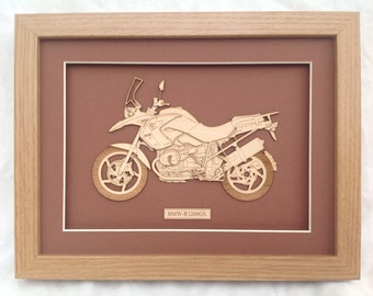 Classic BMW Motorcycle Gifts - Fine art Laser engraved-cut original 2D-3D picture