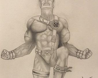 Marvels Xmen Cyclops Original Drawing
