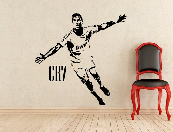 Cristiano ronaldo wall vinyl decal real size 27x22 real for Cristiano ronaldo wall mural