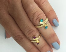 gold plated midi ring,gold plated toe ring,turquoise midi ring,adjustable midi ring,ruby midi ring,stone midi ring,stone toe ring,toe ring