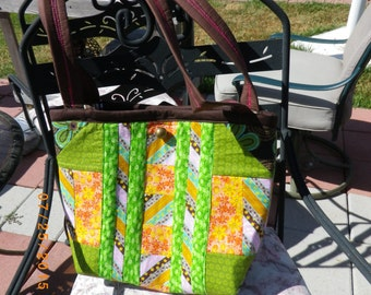 Quilted Lime green with Orange Tote