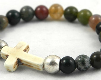 Indian agate beads and Howlite bracelet cross