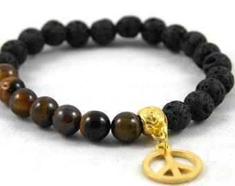 Tiger eye and Peaceanhänger lava Beads Bracelet