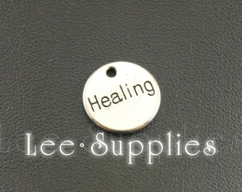 "10pcs Antique Silver Alloy Round Letter ""Healing"" Charms Pendant A1170"
