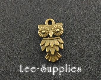 10pcs Antique Bronze Alloy Owl Charms Pendant A122