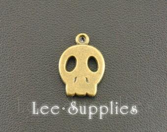 10pcs Antique Bronze Alloy Skull Charms Pendant A384