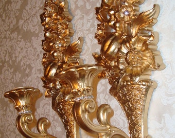 SOLD*** Original FRENCH WEDDING Creation - Pair Vtg French Cottage Ornate Hollywood Regency Candle Sconces - Gold & Jeweled