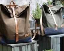 Roll top backpack BP101/ Field leaf/ sack, rucksack, unisex travel bag