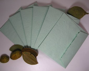 Green envelope set of 6/ green thank you cards/ green envelope and blank cards/ handmade recycled paper