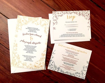 Rustic, Elegant Wedding Invitations Bundle - Invitation, RSVP, Accommodation Card – PRINTING INCLUDED