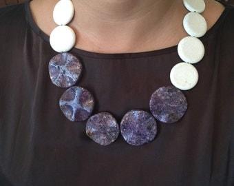 Charoite and white coral stone necklace