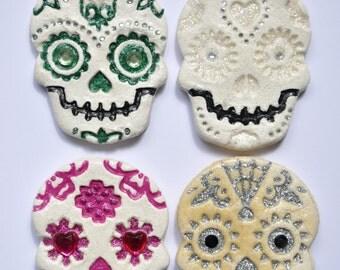 Sugar Skull Day Of The Dead Salt Dough Magnet