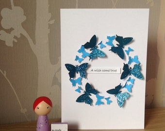 """Circle of butterflies """"A wish come true"""" adoption celebration card"""