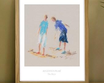 Fine art print of pastel sketch of 'The Boys'