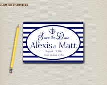 NAUTICAL Save The Date, You pick colors, SAVE the date, Any Font, Nautical Wedding, Beach Save the Date, anchor and initials monogram, DIY