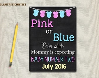 Pink or Blue.. Either will do! Pregnancy Announcement, Baby Annoucement, Chalkboard Baby Annoucement, Digital Annoucement, Baby, Chalkboard