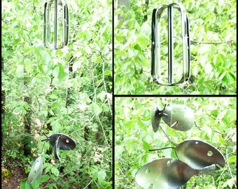 Upcycled Kitchen Hand Mixer & Spoon Fish Metal Wind Chime, Home and Garden Musical Handmade Kinetic Art, Unique Flatware Creative Decoration