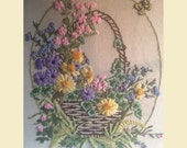 Vintage 1978 Large Crewel Embroidery Framed Flowers And Butterfly , Flower Power, Boho Decor, Vintage Needlework, Crewelwork