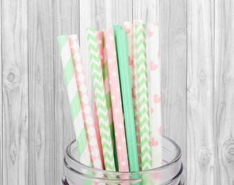 Pink and Green Paper straw - Birthday Party decoration - Wedding - Baby Shower - Mason Jar Straw - Baptism - 25 pcs