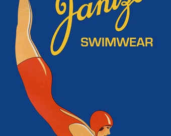 Fashion Swimwear Lady Jantzen Swim Fine Vintage Poster Repro FREE SHIPPING