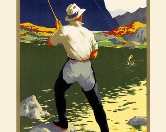 Wyoming Fishing Sport Fish America US Travel Tourism Vintage Poster Repro FREE SHIPPING