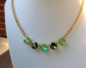 Ultimate Green Sphinx with a twist of Lime Gold Necklace