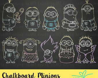 Chalkboard Minions Clipart / Digital Clip Art for Commercial and Personal Use / INSTANT DOWNLOAD