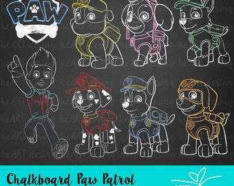 Chalkboard Paw Patrol Clipart / Digital Clip Art for Commercial and Personal Use / INSTANT DOWNLOAD