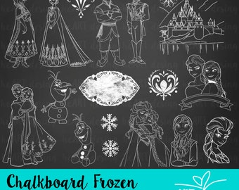 Chalkboard Frozen Clipart / Digital Clip Art for Commercial and Personal Use / INSTANT DOWNLOAD