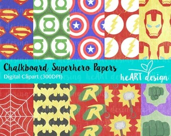 Chalkboard Superhero Digital Paper 1 / Digital Paper for Commercial and Personal Use / INSTANT DOWNLOAD