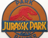 "Jurassic Park Ranger Patch 4"" Embroidered Iron on Badge Applique Motif Jurassic World Dinosaur T-Rex Souvenir Collectible"