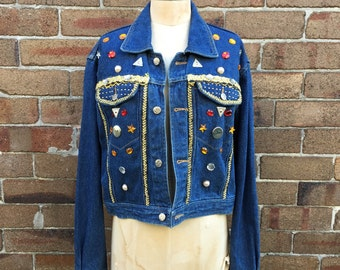 Unique hand beaded detailed demin jacket by Quied Pie