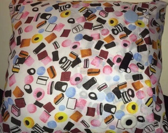 Liquorice Allsorts Cushion Cover with Liquorice Allsorts buttons
