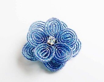 Beaded Flower hair clip in blue and Swarovski crystal, wedding hair accessory for bride and bridesmaid, bridesmaid gift, bridal hair clip