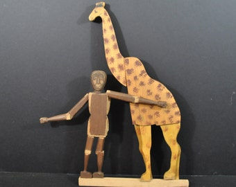 1890's Crandall's Menagerie Box with Giraffe and Man